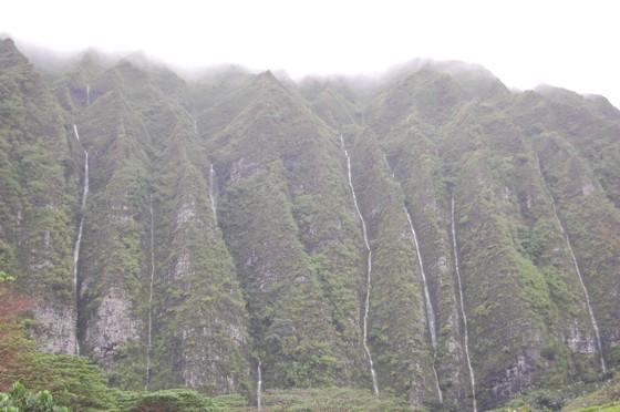 View of the misty Koʻolau Mountains